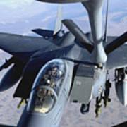 An F-15e Strike Eagle Refuels Over Iraq Art Print