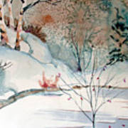 An Icy Winter Art Print by Mindy Newman