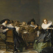 An Interior With Musicians Seated Around A Table  Art Print