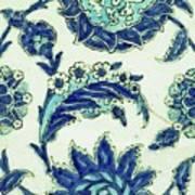 An Iznik Blue And White Pottery Tile, Turkey, 17th Century, By Adam Asar, No 18b Art Print