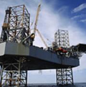 An Oil And Gas Drilling Platform Art Print