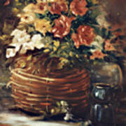 An Old Basket With Flowers Art Print