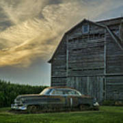 An Old Cadillac By A Barn And Cornfield Art Print