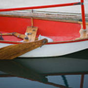 An Old Sailboat Tied To The Dock Art Print