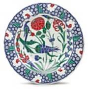An Ottoman Iznik Style Floral Design Pottery Polychrome, By Adam Asar, No 1 Art Print