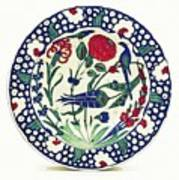 An Ottoman Iznik Style Floral Design Pottery Polychrome, By Adam Asar, No 1a Art Print