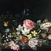 An Overturned Vase Of Flowers Resting On A Ledge Art Print