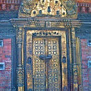 Ancient Door In Katmandu Nepal Art Print