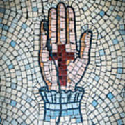 Ancient Mosaic Of A Hand And Cross Art Print