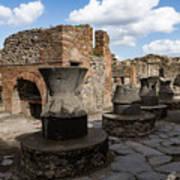 Ancient Pompeii - Bakery Of Modestus Millstones And Bread Oven Art Print