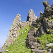 Ancient Steps Leading To Celtic Monastery, Skellig Michael, County Kerry, Ireland Art Print