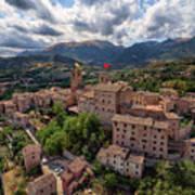 Ancient Village Of Sarnano Italy, Marche, Macerata - Aerial View Art Print