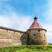 Ancient Wall And Tower Of The Fortress Oreshek Art Print
