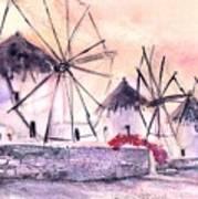 Ancient Windmills Of Mykonos Greece Art Print