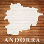 Andorra Rustic Map On Wood Art Print