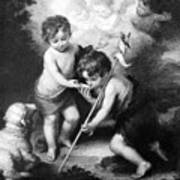 Angel - Angels With White Lamb Art Print