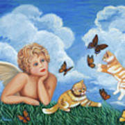 Angel And Kittens Art Print