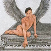 Angel And The Piano Drawing Hnad-drawn Art Print