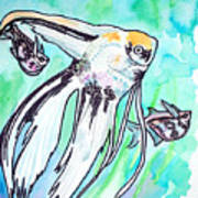 Angel Fish And Hatchet Tetras Print by Jenn Cunningham