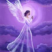 Angel In Amethyst Moonlight Art Print