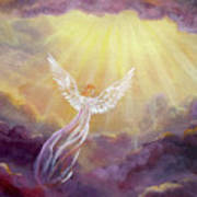 Angel In Mauve Clouds Art Print