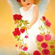 Angel Surrounded By Red Roses Art Print