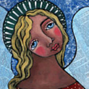 Angel With Green Halo Art Print by Julie-ann Bowden