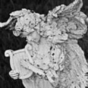 Angel With Harp Art Print