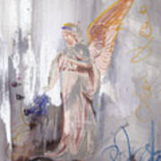 Angel Writing Doodles In Spirit Art Print