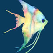 Angelfish I - Solid Background Art Print