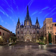 Angels Flying In Front Of The Cathedral Of The Holy Cross And Sa Art Print