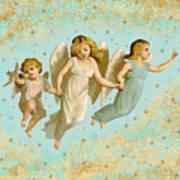 Angels Three Children Vintage Art Print