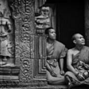 Angkok Wat Buddhist Monks Gather Art Print