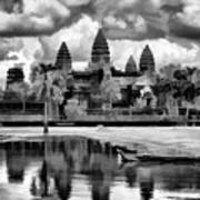 Angkor Wat Black Oil Paint  Art Print