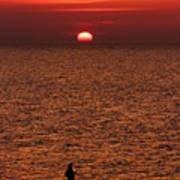 Angler In Summer Sunset Art Print