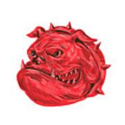 Angry Bulldog Head Drawing Art Print