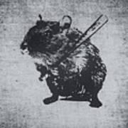 Angry Street Art Mouse  Hamster Baseball Edit  Art Print