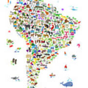 Animal Map Of South America For Children And Kids Art Print