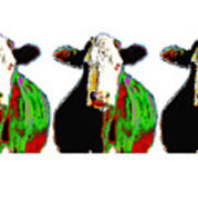 Animals Cows Three Pop Art Cows Warhol Style Art Print