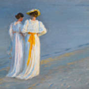Anna Ancher And Marie Kroyer On The Beach At Skagen Art Print