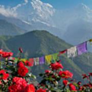 Annapurnas And Prayer Flags Art Print