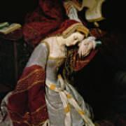 Anne Boleyn In The Tower Art Print by Edouard Cibot