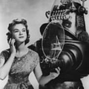 Anne Francis Movie Photo Forbidden Planet With Robby The Robot Art Print