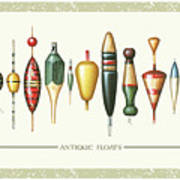 Antique Bobbers Art Print by JQ Licensing