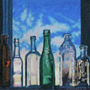 Antique Bottles At Dawn Art Print