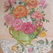 Antique Bowl With Roses Art Print