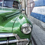 Antique Car And Mural 2 Art Print