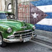 Antique Car And Mural Art Print