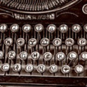 Antique Keyboard - Sepia Art Print