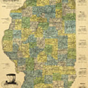 Antique Map Of Indianapolis By The Parry Mfg Company - Historical Map Art Print